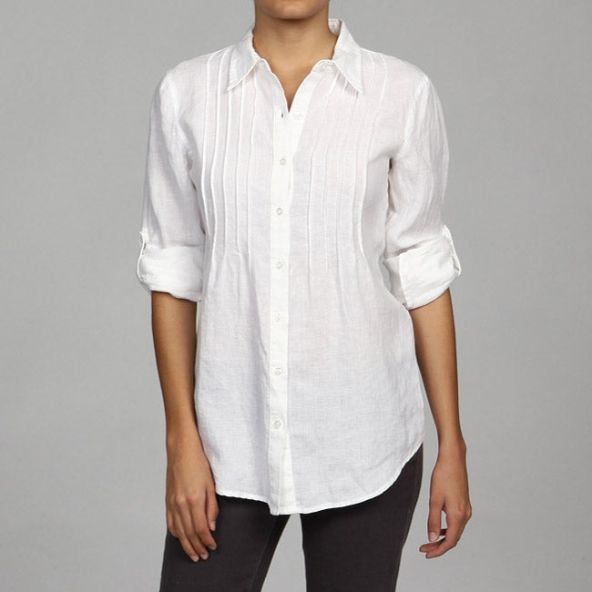 Calvin klein women 39 s white linen pintuck blouse free for Linen women s shirt