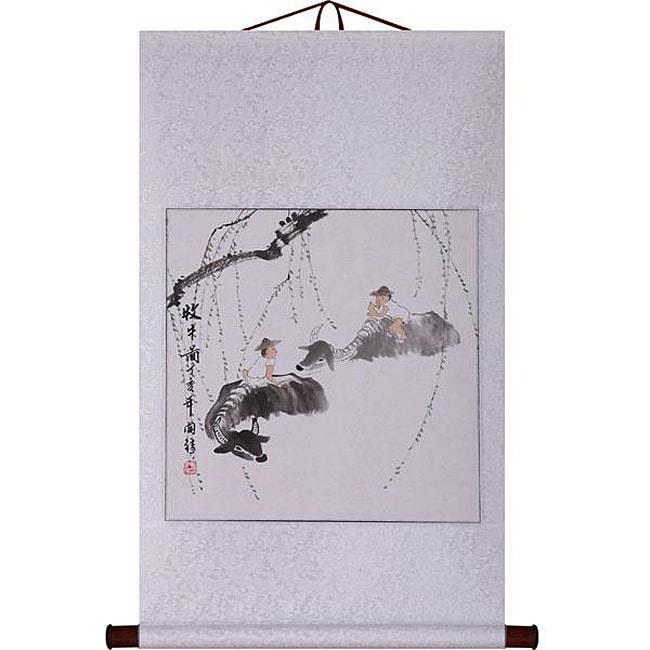'Farmer and Buffalo' Wall Art Scroll Painting (China)