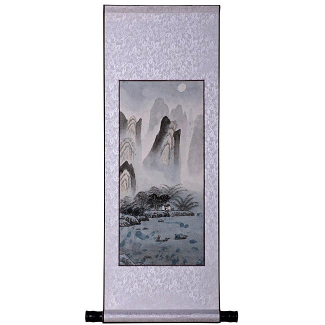 'Mountain River Landscape' Wall Art Scroll Painting (China)