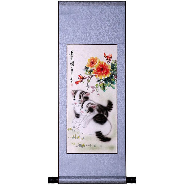 'Cats and Spring Flowers' Wall Art Scroll Painting (China)