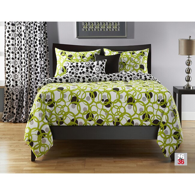 Full Circle Green 6-pc California King-size Duvet Cover and Insert Set