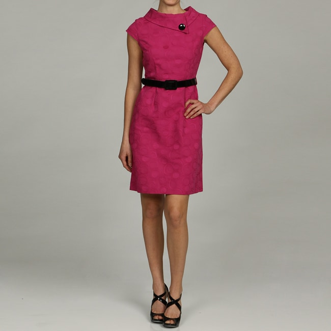 London Times Women's Belted Button-collar Dress