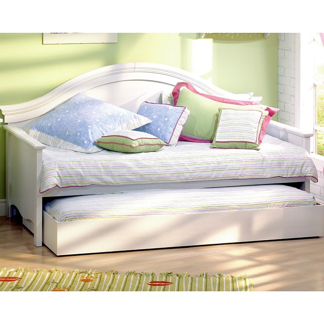 Country White Washed Wood Twin Day Bed With Trundle Free