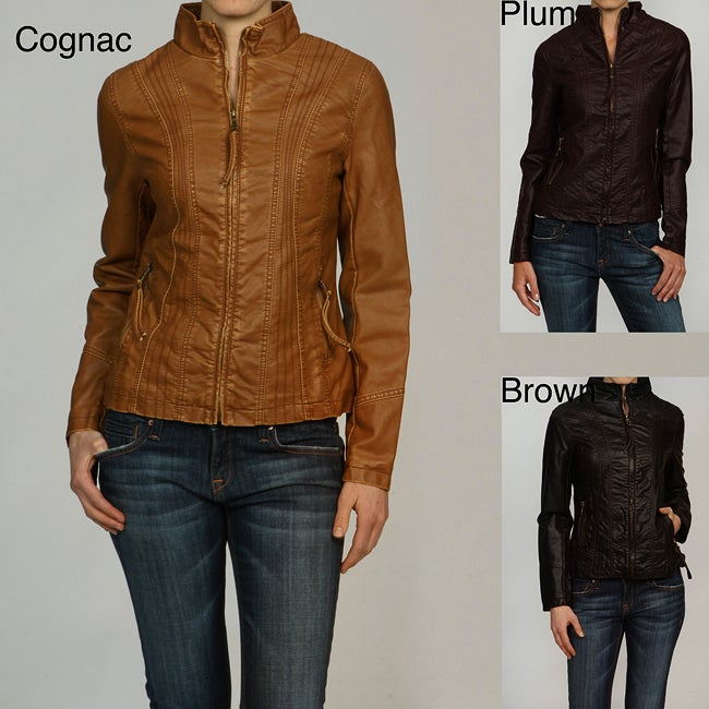 Big Chill Women S Faux Leather Stand Collar Jacket Free