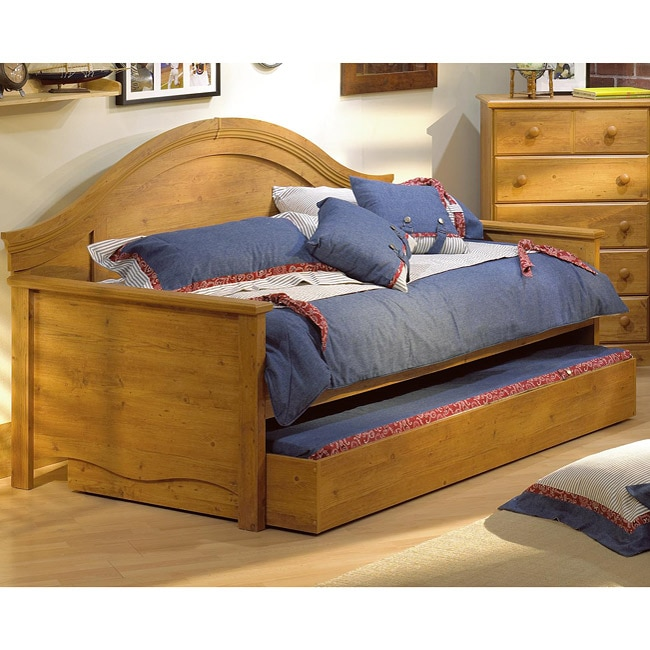 Country Pine Wood Twin Day Bed with Trundle