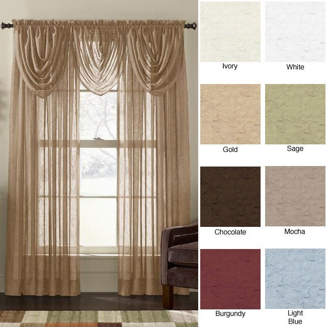 Crinkle Voile 84-inch Sheer Curtain Panel Pair - Free Shipping On ...