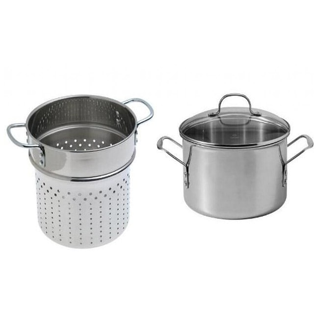 calphalon triply stainless 6quart stockpot with pasta colander insert - Calphalon Tri Ply Stainless Steel
