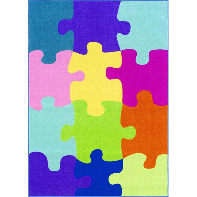 Shop Tweens Multicolor Puzzle Piece Rug 3 3 X 5 Free Shipping