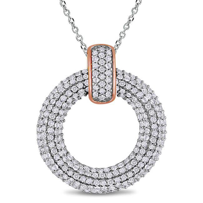 14k Two-tone Gold 1ct TDW Pave Diamond Circle Necklace