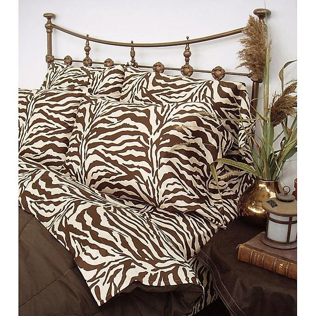 Wild Life Brown Zebra 3-piece Twin XL-size Comforter Set