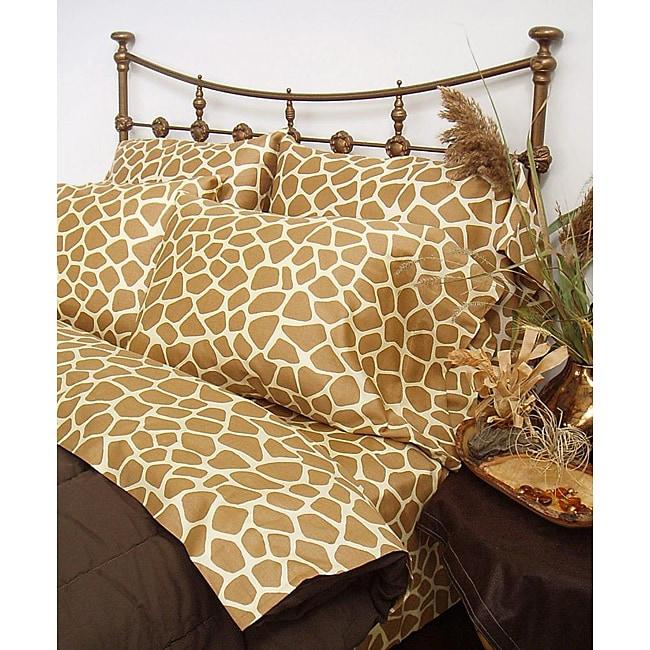 Wild Life Tan Giraffe 4-piece Queen-size Comforter Set