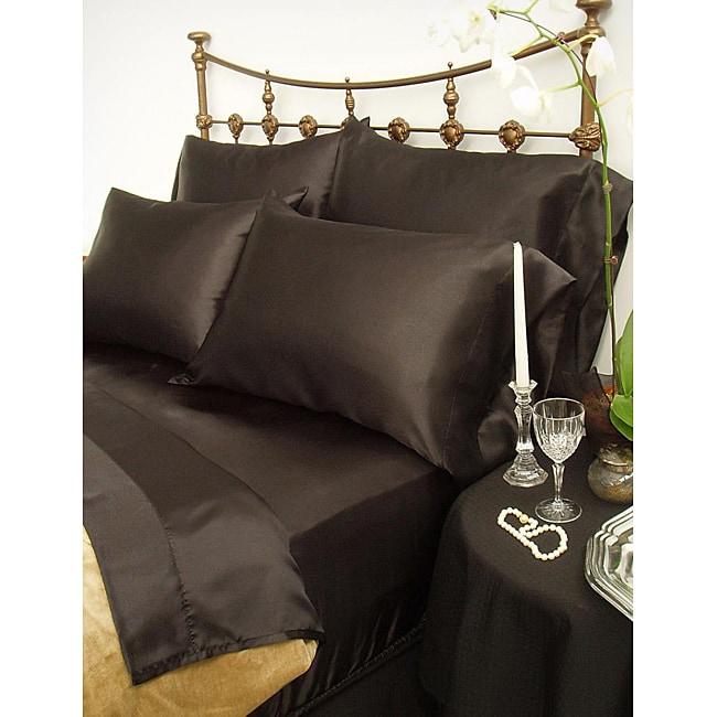 Charmeuse Black Satin 4-piece California King-size Comforter Set