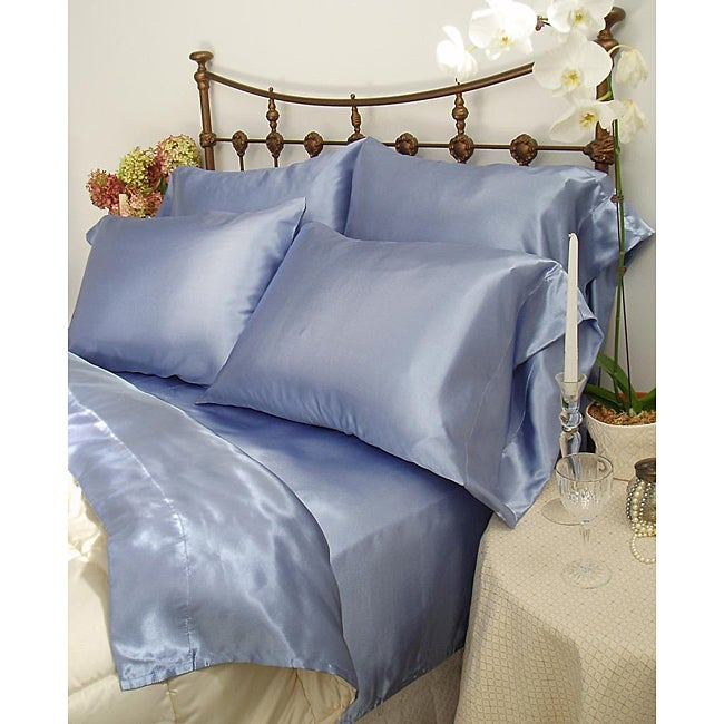 Charmeuse French Blue Satin 4-piece California King-size Comforter Set