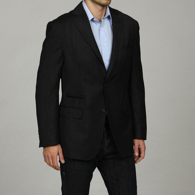 U&I Men's Navy Wool-blend Sportcoat