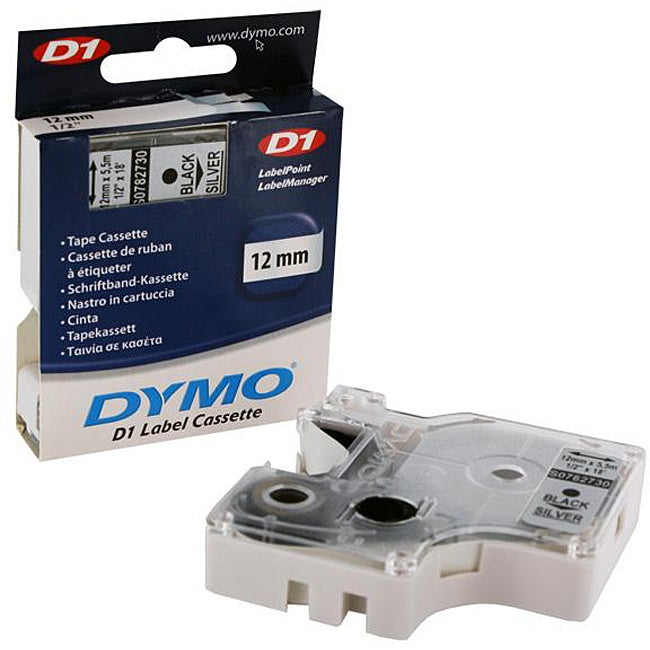 Dymo D1 Black on Silver Tape Label Cassette