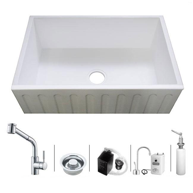 Westbrass Farmhouse Kitchen Sink Faucet and Hot Water Dispenser Combo