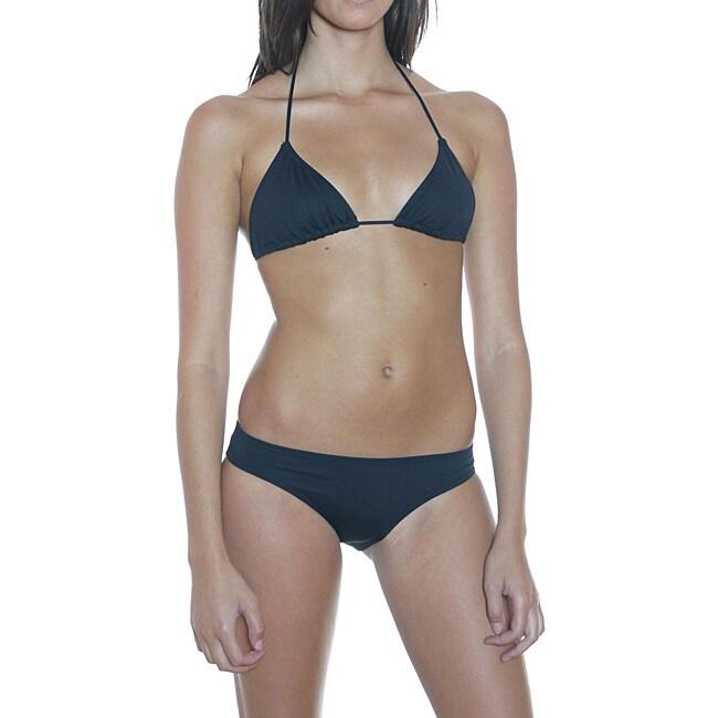 Prov'n by Lucenti Swimwear Women's Black Triangle Halter Bikini