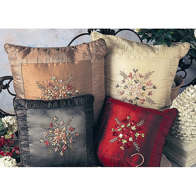 Ribbon-embroidered Decorative 12x12 Pillow