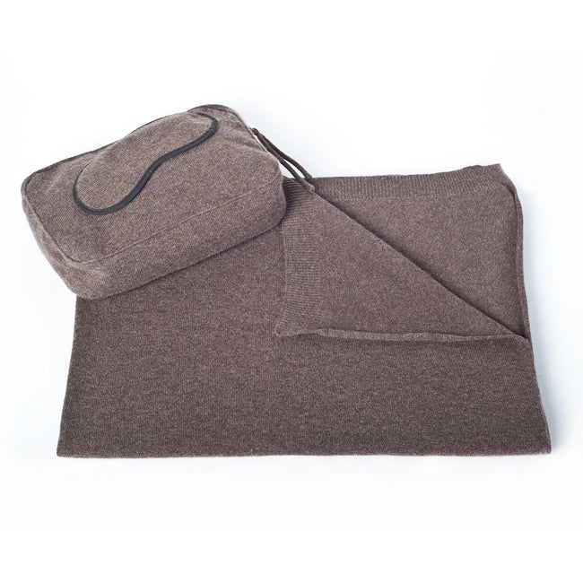 Sophia Cashmere Heather 2-ply Jersey Throw Travel Set