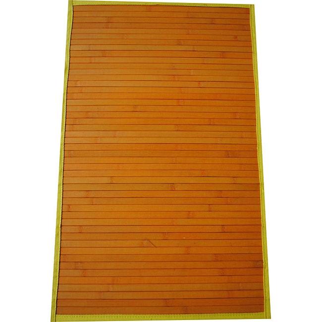 Asian Hand-woven Orange/ Yellow Rayon from Bamboo Rug (1'8 x 2'8)