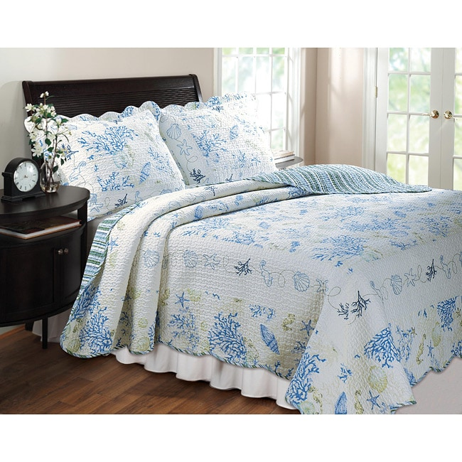 Shop Greenland Home Fashions Coral Blue King Size 3 Piece Quilt Set