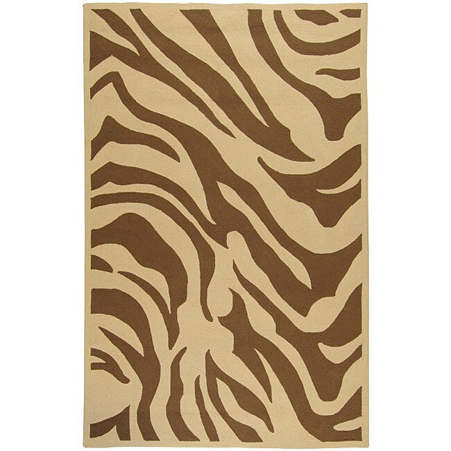 Hand-hooked Bliss Outdoor Beige Indoor/Outdoor Animal Print Rug (9' x 12')