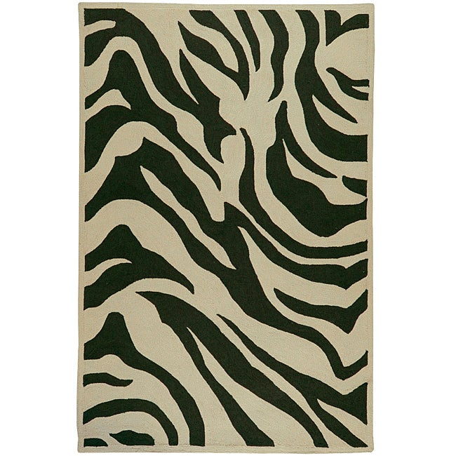Hand-hooked Bliss Light Sage Indoor/Outdoor Animal Print Rug (9' x 12')