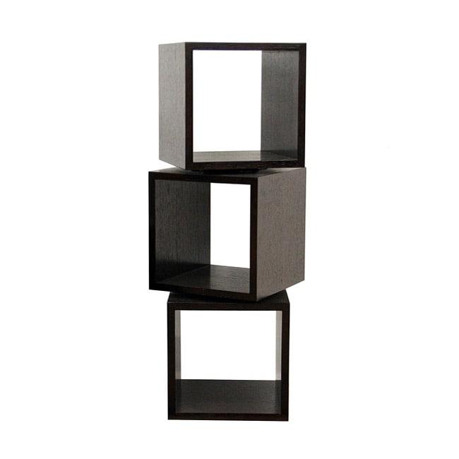 Judson Dark Brown Wood Modern Rotating Cube Display Shelf