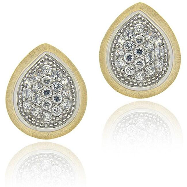 Icz Stonez Sterling Silver Cubic Zirconia Pear-shape Earrings