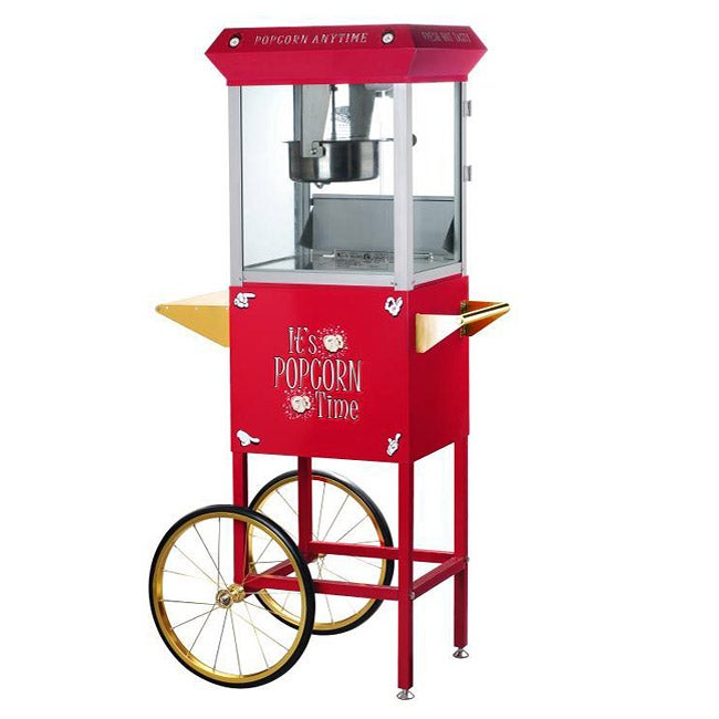 Popcorn Time Red 6-oz Antique Popcorn Machine and Cart