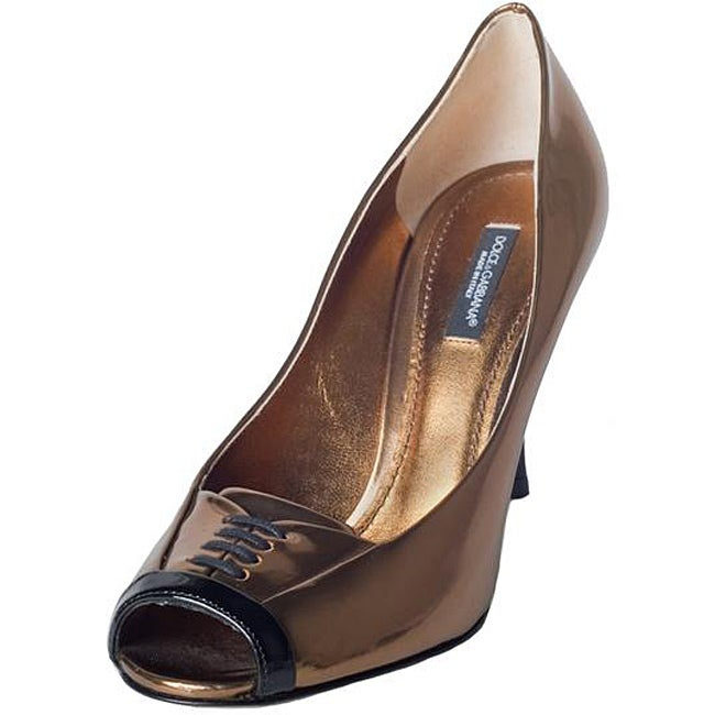 Dolce & Gabbana Women's Gold Leather Peep-toe Pumps