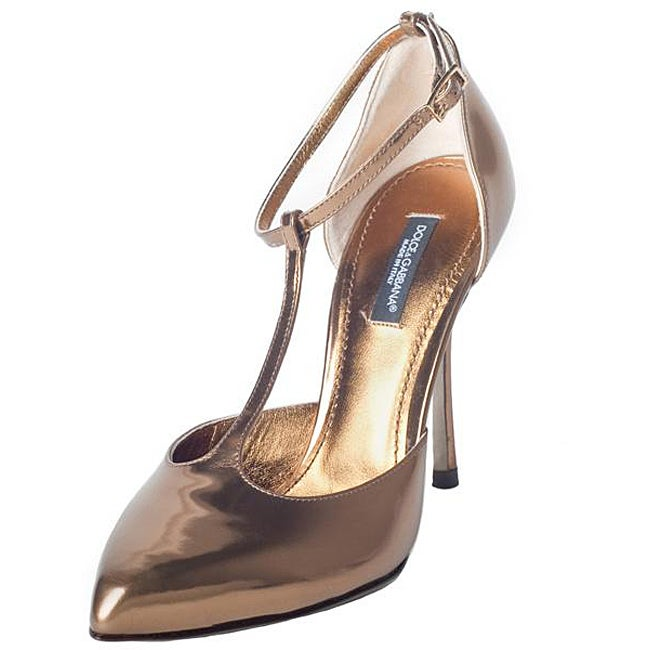 Dolce & Gabbana Women's Leather Gold T-strap Pumps