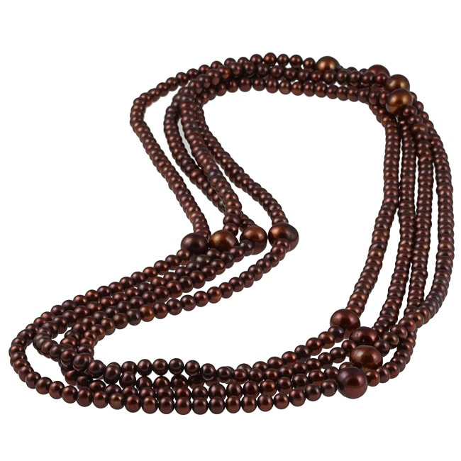 New York Pearls Brown FW Pearl 100-inch Endless Necklace (5-10 mm)