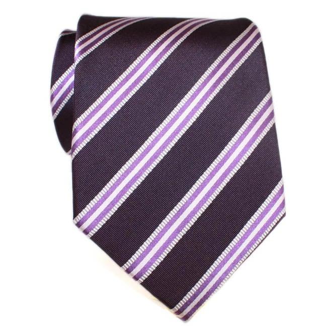 H. Luzzario & Co Men's Silk Purple Striped Tie
