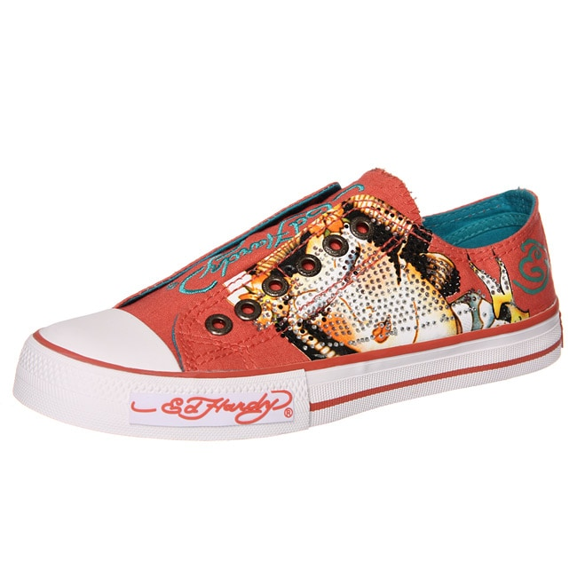 b2c2d28b8 Shop Ed Hardy Women's 'Shimmer' Lowrise Pink Canvas Sneakers - Free ...
