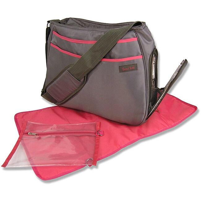 Trend Lab Grey and Magenta Ultimate Diaper Bag