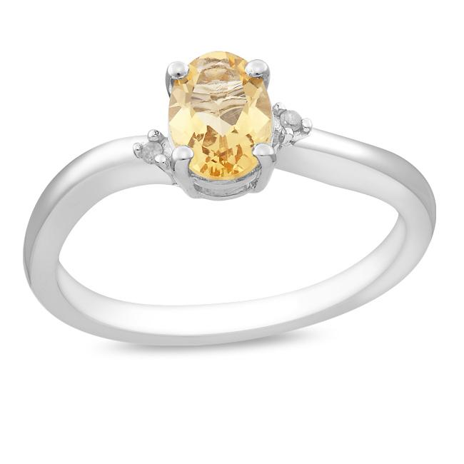Sterling Silver Oval Citrine and Diamond Accent Ring