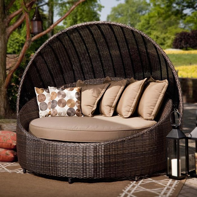 Madera All Weather Outdoor Wicker Canopy Day Bed Free