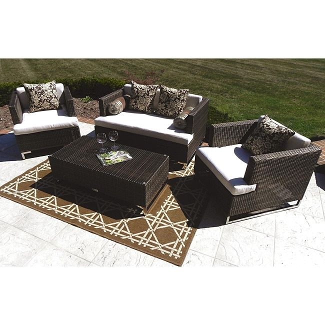 Thumbnail Eliza 4 Piece All Weather Wicker Stainless Steel Patio Furniture Set