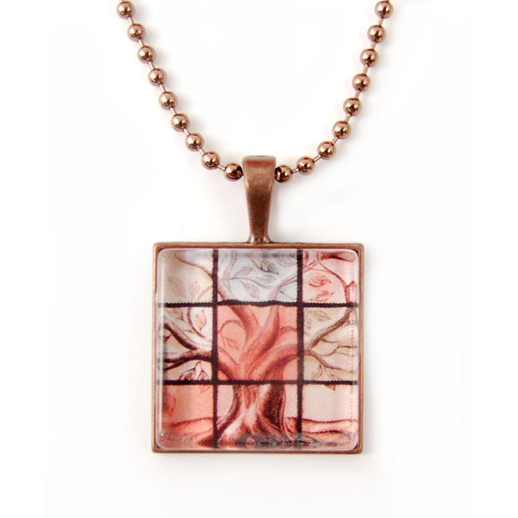 ABO Enterprises Copperplated Chain Glass Tree of Life Necklace