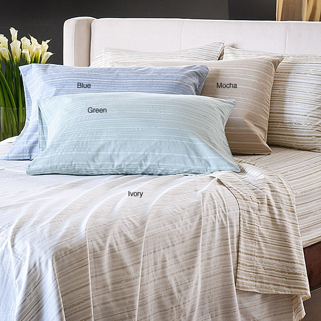 Reflections Distressed Stripe Sateen 300 Thread Count King-size Sheet Set