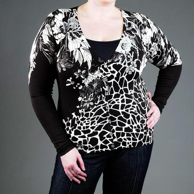 Pierre Women's Plus Size Embellished V-neck Cardigan