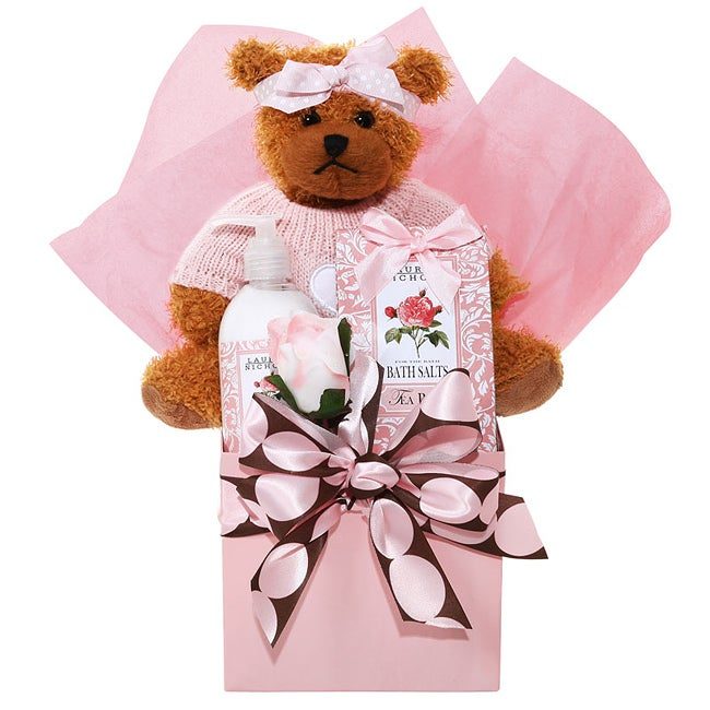 Pretty in Pink Spa Gift Basket w/Bath Salts, Lotion, and Stuffed Bear