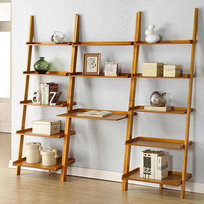 Oak Leaning Ladder 3 Piece Shelf Free Shipping Today
