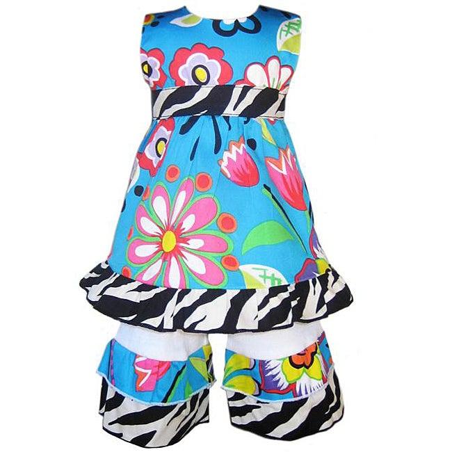 AnnLoren Blue Tropical Dress/ Capri Outfit Fits American Girl Dolls