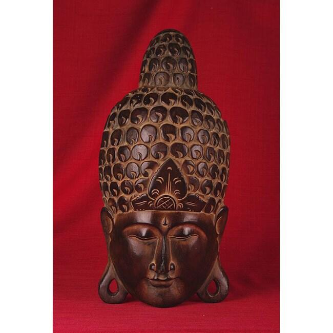 Teak Wood 23-inch Buddha Mask (India)