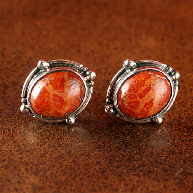 Sterling Silver Sponge Coral Post Earrings (Thailand)