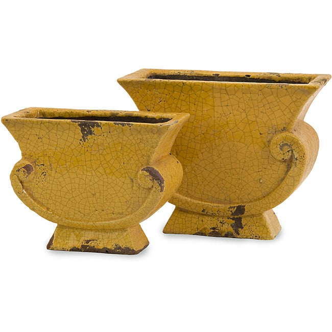 Set of 2 Argento Scroll Mustard Yellow Distressed Planters