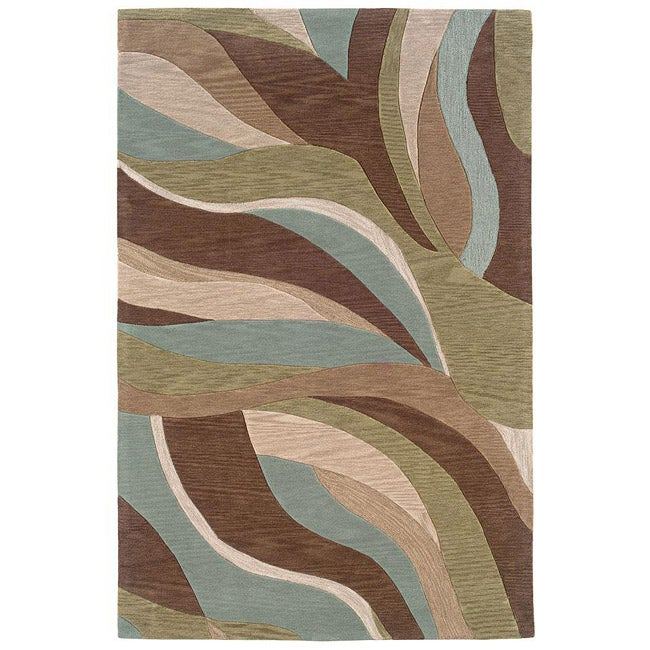 Shop Hand Tufted Blue Brown Abstract Rug 7 9 X 9 9