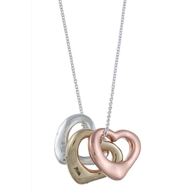 Three-tone Open Heart 'Love' Charm Necklace